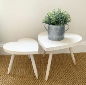 Whitewashed Heart Tables
