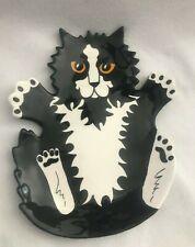 """Cats by Nina Black and White Tuxedo Cat Ceramic Dish Tray 9.5"""" Nina Lyman"""
