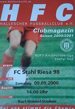 Programm 2000/01 HFC Hallescher FC - Stahl Riesa
