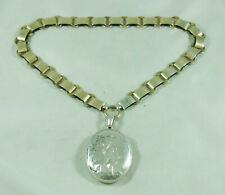Victorian Aesthetic Period Silver Gilt Locket & Collar 43cm A602017