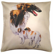 Borzoi Russian Wolfhound Group Cotton Cushion Cover - Cream or White - Gift Item