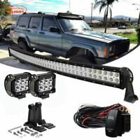 """50"""" Curved LED Light Bar offroad+4"""" Pods Cube For 1993-98 Jeep Grand Cherokee ZJ"""