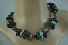 Vintage 1950s chunky turquoise and dried seed pod necklace
