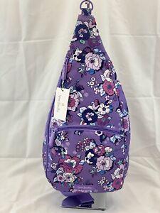 Vera Bradley Lighten Up Essential Sling Backpack Enchanted Garden Purple NWT