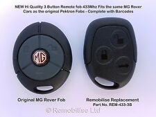 NEW 3 Button REMOTE FOBS MG ROVER compatible For MG TF/ZR/ZS/ Rover 25/45/ UK/EU