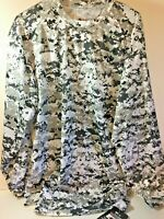 Men's Badger Sport Digital B/W Camo Performance T-Shirt Large NWT Long Sleeve