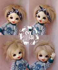"5-6"" 14cm BJD fabric fur wig flaxen short hair for AE PukiFee lati 1/8 Doll"