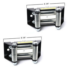 "Pair (2) ATV Winch Roller Fairlead 4 Way Cable Lead Guide 4-7/8"" Bolt Pattern"