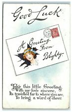 Greetings Postcard Good Luck A Greeting from Blighty posted 1919