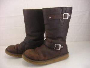 Women's sz 10 M Ugg Kensington Biker Brown Sheepskin Shearling Fur Boots Harness