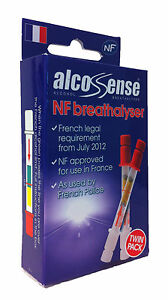 Alcosense Singles NF Alcohol Breathalyser Tester - Twin Pack France Legal French