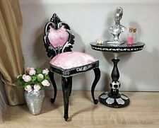 1/4 black&pink baroque chair for doll 1/4 scale, BJD doll furniture