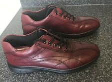 Ecco UK 3 / 36 Ox Blood Wine Red Leather Trainer Shoes Flat Burgundy Smart Chic