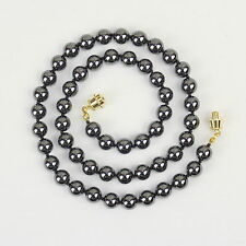 8mm Hematite Necklace Hand Knotted Natural Haematite 8 mm Grey Beads Gray