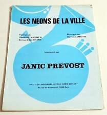 Partition vintage sheet music JANIC PREVOST / DANIEL BALAVOINE : Les Néons