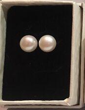 925 Sterling Silver - Genuine Freshwater Pearl White Stud Earrings - 10mm