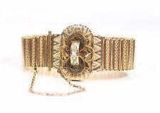 """Antique Vintage Gold Wash Bracelet With Genuine Pearls 6 1/4"""" Long"""