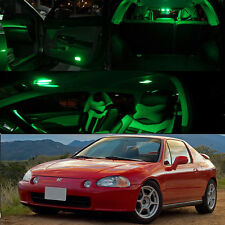 For 93-97 Honda Civic Del Sol Green Interior LED Bulb Package Dome Trunk Plate