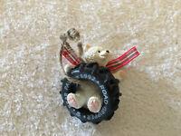 Vintage 1992 Hallmark Bear Paws Road Gripper Tire Swing Christmas Ornament