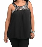 WOMENS PLUS SIZE CLOTHING BLACK CHIFFON TOP WITH SEQUINED NECKLINE