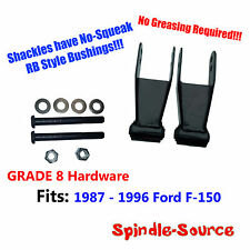 "1987 - 1996 Ford F150 1"" 2"" Rear Lowering Drop Shackles GRADE 8 Kit RB Bushings"