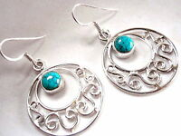 Natural Turquoise Filigree Round 925 Sterling Silver Dangle Earrings New