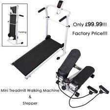 Folding Treadmill Fitness Walking Jogging Machine + Exercise Stepper Trainer Leg