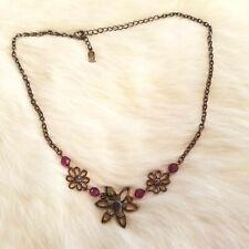 1928 Antiqued Copper Flower Enamel Rhinestone Daisy Necklace Adjustable 2092