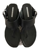 Vera Wang Lavender Black Leather Platform Flip Flop Buckle Strap Sandals 8