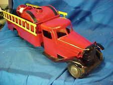 "1930s TURNER Toys PRESSED STEEL Toy FIRETRUCK 24 "" w Water TANK Restored"