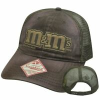 M&Ms Chocolate Candy Brown Mesh Snapback Garment Wash Candies Curved Bill Hat