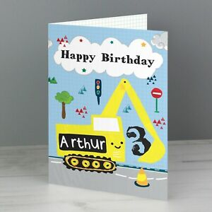 Personalised Digger Birthday Card For Boys 1st 2nd 3rd 4th 5th 6th 7th Any Name