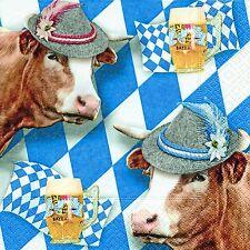 20 Serviette Wiesn Gaudi Oktoberfest Bayern weiß Blau Bier Ochse Sau