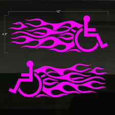 Handicapped Handicap Wheelchair Fast Flames Set of 2 PINK Decal Stickers 12x4.5
