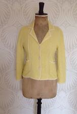 Jigsaw Knitted Jacket Medium Yellow and Cream, 3/4 Sleeves, Kate Middleton Style