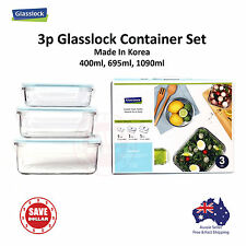 Glasslock 3P Tempered Glass Food Container Storage Microwave Safe Gift Set