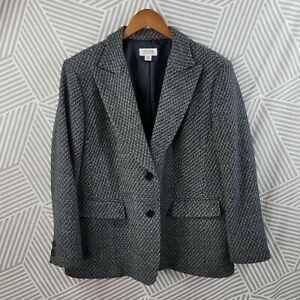 Talbots size 18 Petite Tweed Blazer Jacket 100% Wool Business Professional Gray