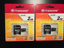 (Lot of 2) Transcend 2GB microSD Cards with SD Adapter - TS2GUSDC - New