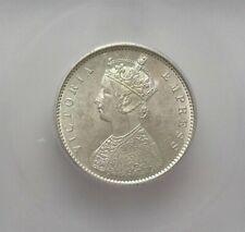 BRITISH-INDIA 1899-B SILVER 1/2 RUPEE -INCUSE B- ICG MS61 KM#491