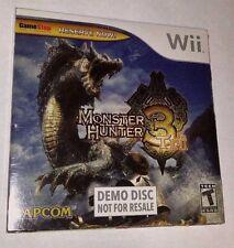 Monster Hunter 3 Tri - Nintendo Wii - DEMO DISK - Game Stop - SEALED NEW!
