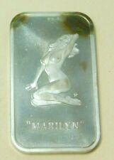 1973 One Ounce Colonial Mint Marilyn Silver Art Bar 1 oz .999 Fine Silver