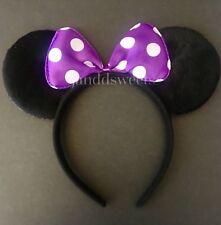 1PC Minnie-Mickey Mouse Ears Headband Purple Polka Dot Bow Furry Ears-Disney