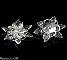 50PCs Clear Rhinestone Lotus Embellishments Jewelry Making Findings 3.5x3cm