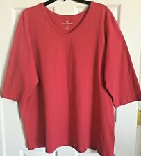 WOMAN WITHIN Women's 1X 22/24 Top T Shirt Pullover Dk Pink/Red V Neck Side Slits