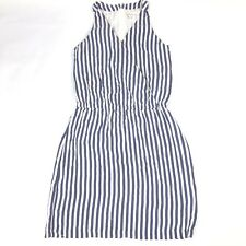 Garnet Hill Womens Size 6 Blue Striped 100% Silk V Neck Lined Racerback Dress