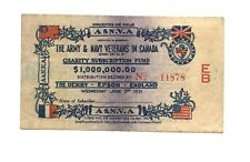 LOTTERY 1931 Army & Navy Veterans in Canada $1 Subscription Certificate