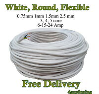 Electrical Cable White Black 3-4-5 Core 0.75-2.5mm  Round Flexible from £0.99 1m