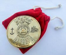 Brass Shiny Calendar Paper Weight With Velvet Bag Collectible Gift