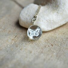 White Butterfly Animal Transparent Glass Pendant Silver Necklace Women Choker