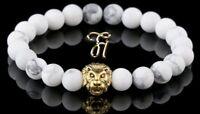Howlith weiß matt - goldfarbener Löwenkopf - Armband Bracelet Perlenarmband 8mm